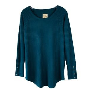 Chaser teal green waffle knit button sleeve top